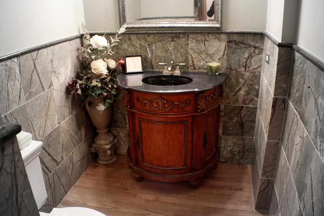 Powder Room - JW Construction & Design | Chicago Area Bathroom Facelift
