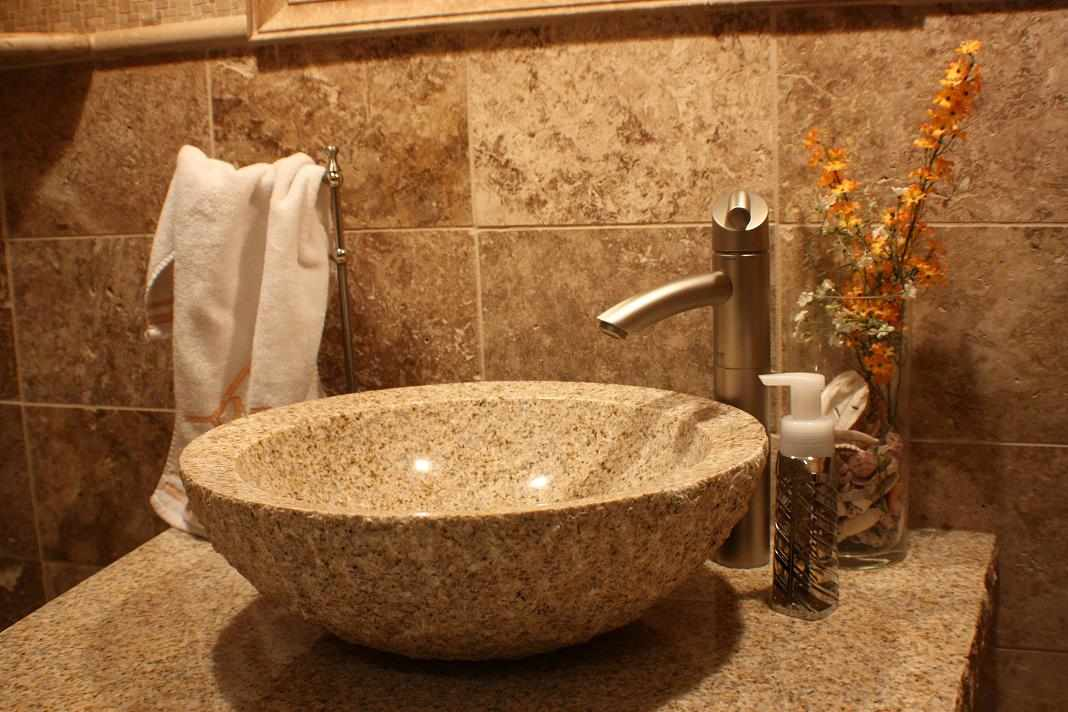 Travertine Vessel Sink - JWConstructionandDesign.com | Chicago area